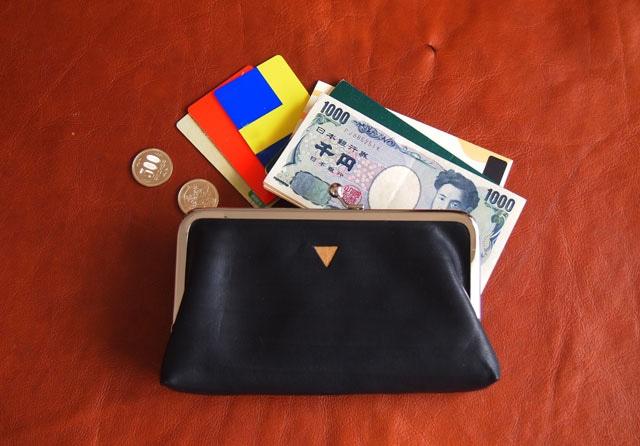 トライアングル ロングウォレット/がまぐち長財布 ブラック