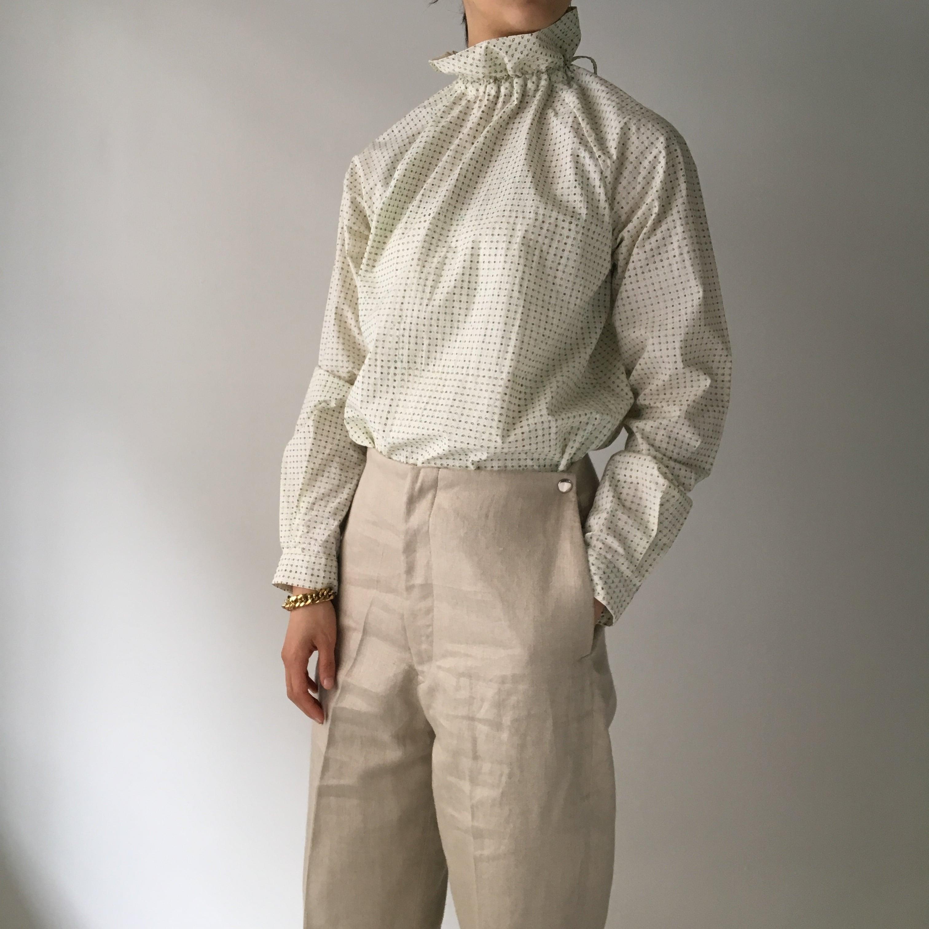 "High neck gather blouse ""Block print geometric"" organic cotton"