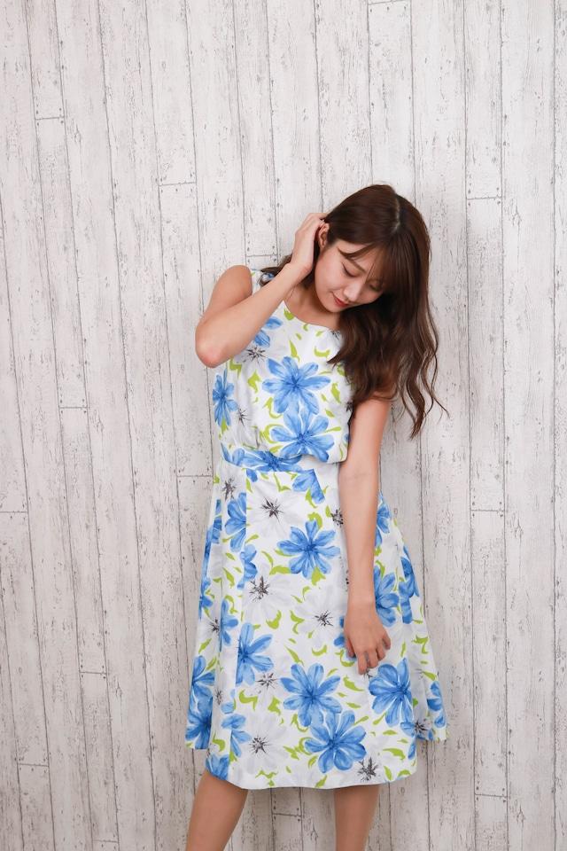 7sheets flare flower skirt BLU
