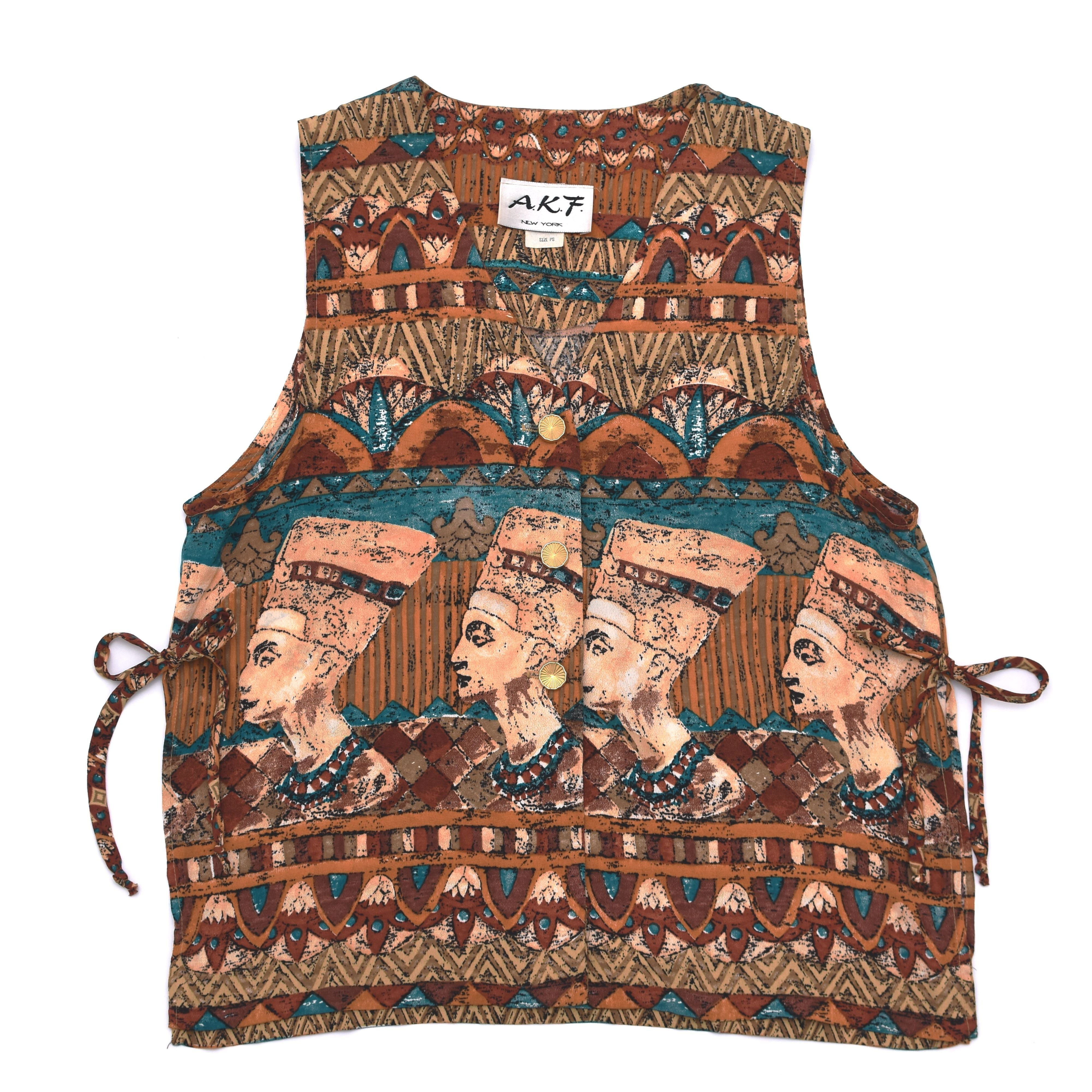 VTG Egyptian pattern rayon vest US Made