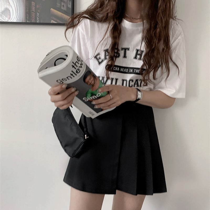 Belt Pleated A-line skirt(black)