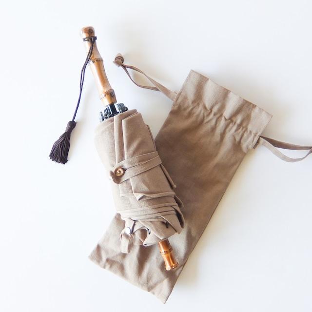 傳 tutaee - ツタエノヒガサ うさぎのたすき - 折り畳み日傘 - 麻ム地 サンドベージュ