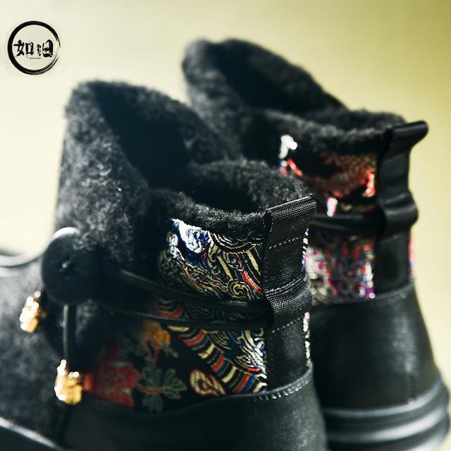 【如旧シリーズ】★刺繍靴★メンズブーツ 秋冬シューズ 厚て 裏起毛 チャイナ風靴 黒 サイズ38-43