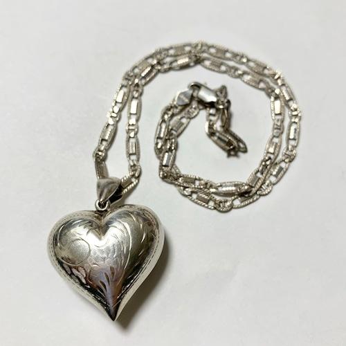 Vintage Hand Carved Big Heart 925 Silver Pendant Necklace