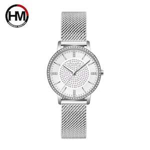 ステンレス鋼ストラップ日本運動ローズゴールドダイヤモンド女性ラインストーン腕時計女性クォーツ時計1074BWYY