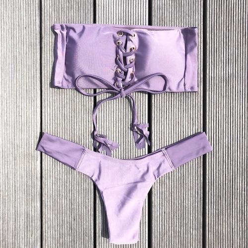 Bikini♡レースアップバンドゥビキニ パープル GSB18S109PPL