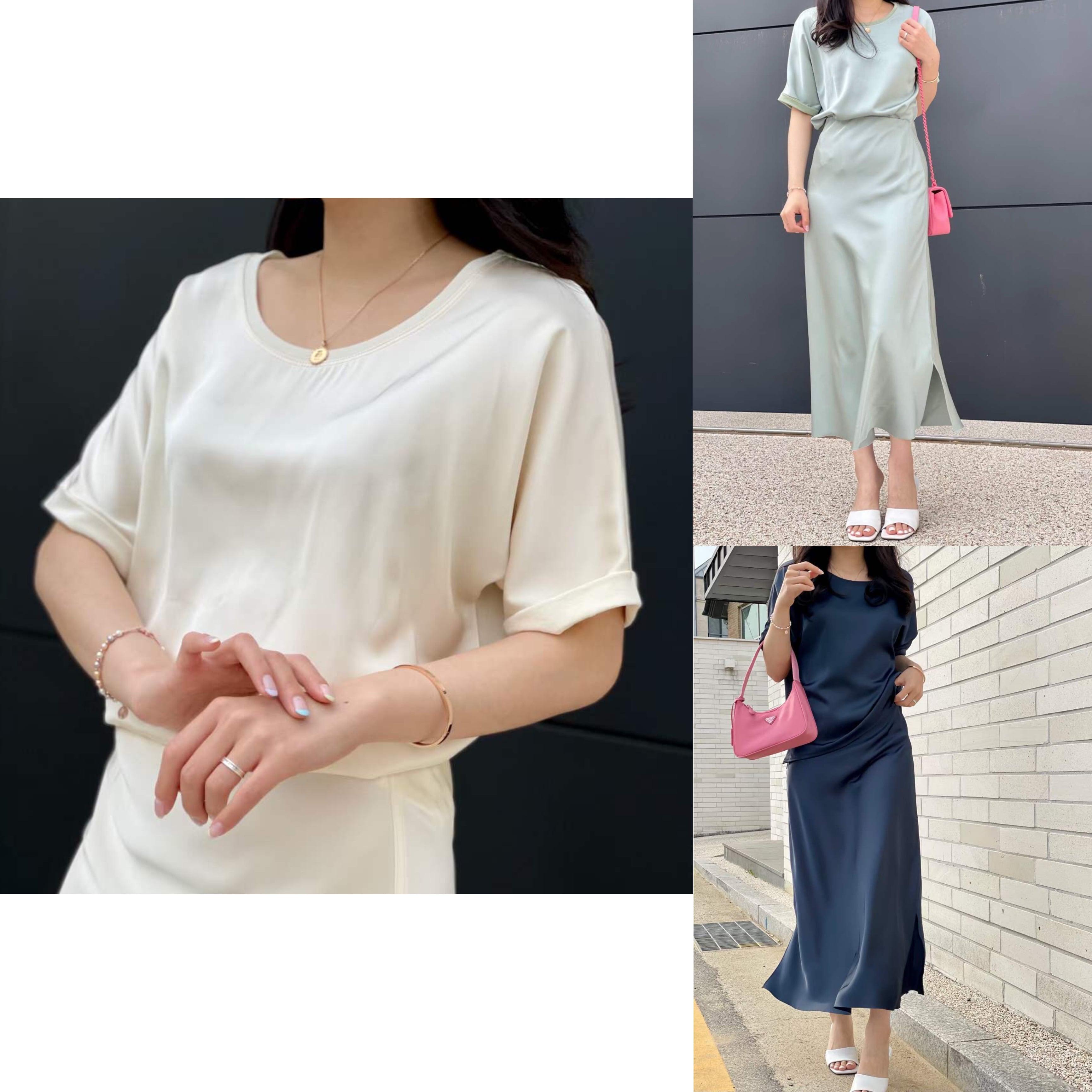 【IVORY,NAVY:即納】ハーフサテンTシャツ -3color-