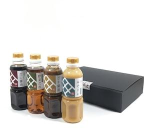 ギフトセットE(送料無料)特撰醤油4本セット(だし醤油300ml+野菜だれ300ml+ごま醤油360g+みそドレ350g)