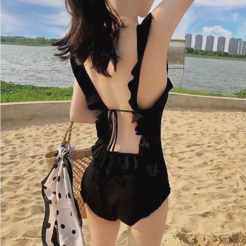 open back frill swimwear