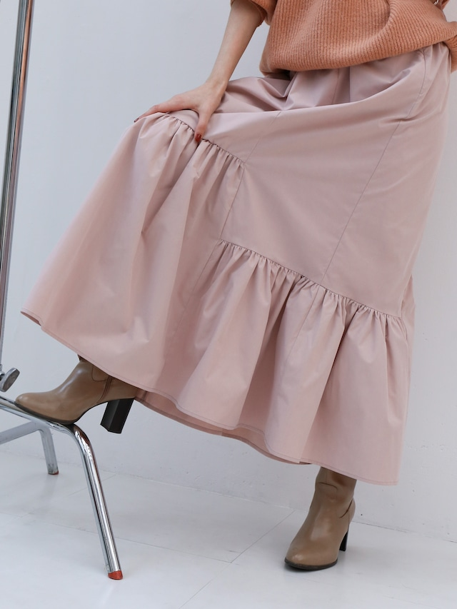asymmetry tiered skirt(smoky pink)