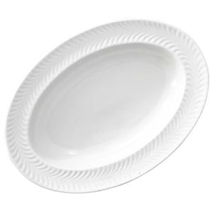 波佐見焼 翔芳窯 ローズマリー リムオーバル 皿 約27×19cm マットホワイト 33408