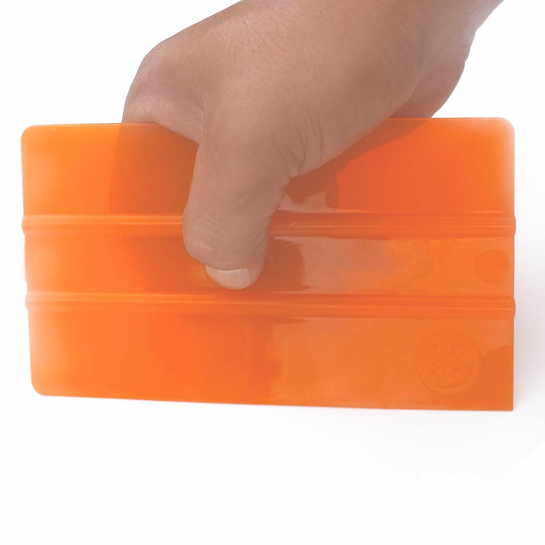 大判 スケルトン 半透明オレンジBIGスキージー W160㎜xH90㎜大型 高級ウールブラックフェルト付 オレンジ色