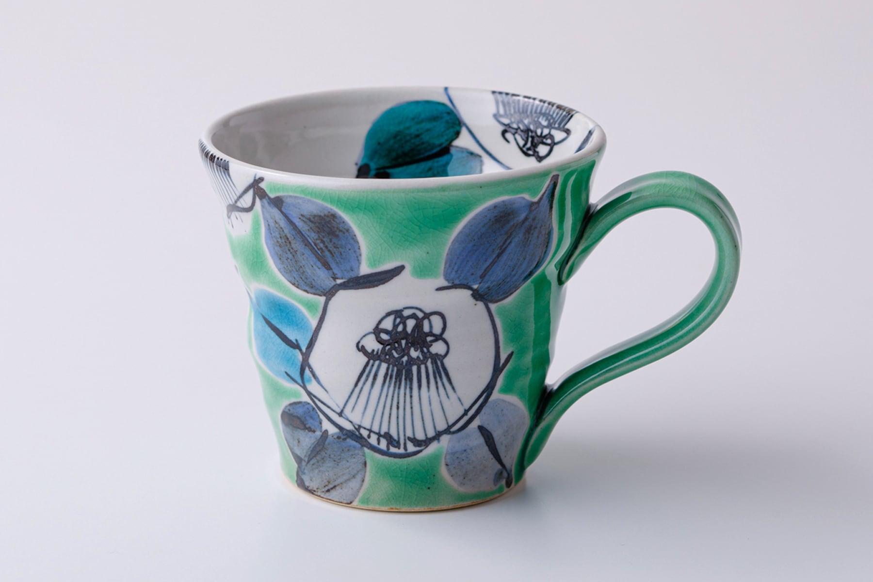 マグカップ 古染椿グリーン