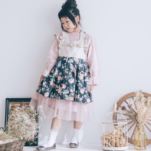 《入園入学》 ロマンティック バラ柄 女の子エプロン(リネンコットン)100-120cm
