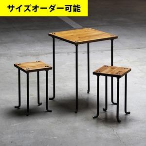 IRON BAR CAFE TABLE & 2 STOOL SET[AMBER COLOR]サイズオーダー可