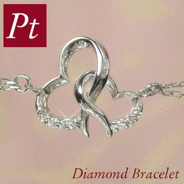 ダイヤモンド ブレスレット プラチナ pt900 ハートモチーフ レディース 計0.06ct