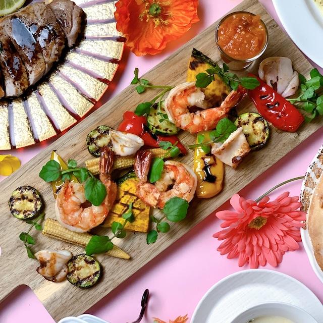 魚介と彩り野菜のグリル アラビアータソース