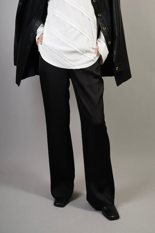 SATIN STRAIGHT PANTS  (BLACK) 2106-264-HK63