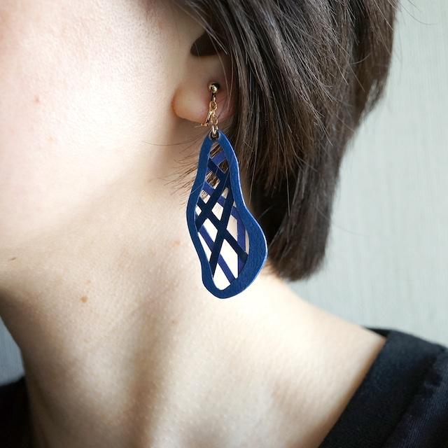 片耳0.6g『綾』ロイヤルブルー: 軽い・痛くなりにくい紙のイヤリングとピアス, ペーパージュエリー