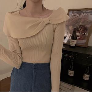 ribbon off shoulder tops 3color