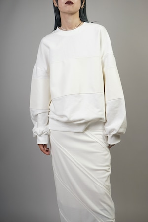 FAUX LEATHER SWITCHING SWEAT TOPS (WHITE) 2110-61-16