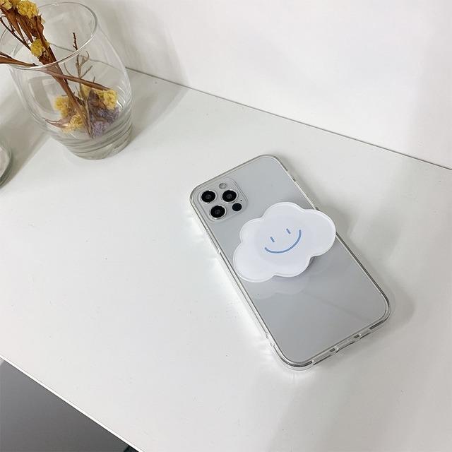 アクセサリー グリップ グリップトック iPhoneケース スマホアクセサリー クラウドデザイングリップ  雲 クラウド もこもこ クリア 透明 レディース かわいい 大人 おしゃれ 韓国