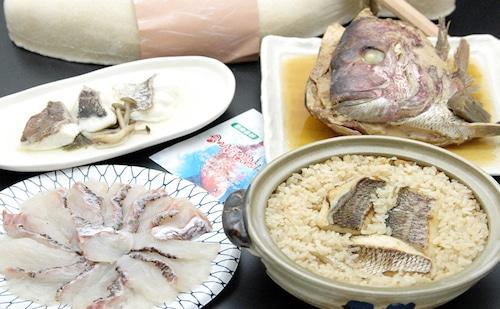 愛媛県由良の鯛づくしセット(しゃぶしゃぶ・釜飯・酒蒸し・兜煮)