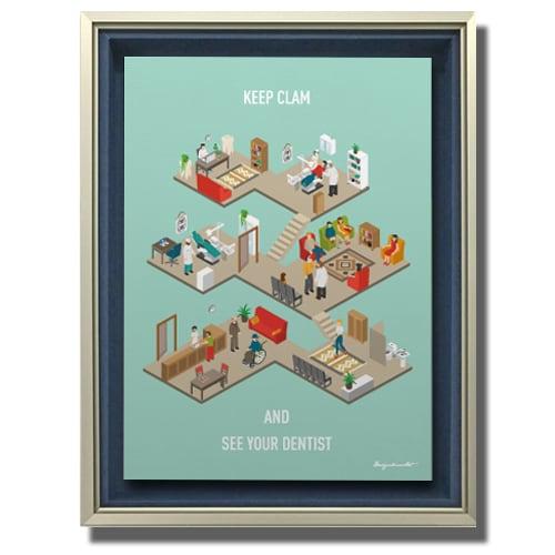 Dental clinic (isometric) キャンバスプリント(B3サイズ)・立体額入り
