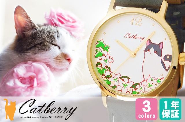 腕時計 花に囲まれた猫