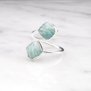 DOUBLE STONE OPEN RING SILVER 030