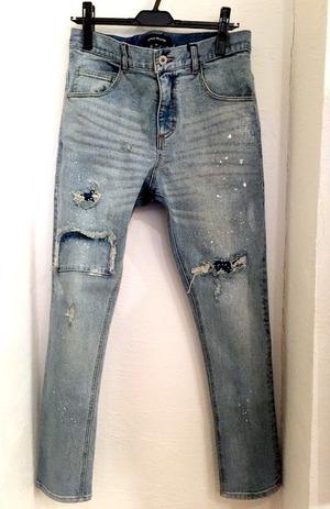 Painted Denim Pants Indigo(WhitePaint)