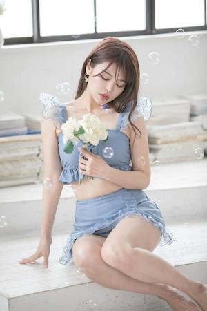 【早割sale中】ショルダーフリルスカート水着☆ブルー