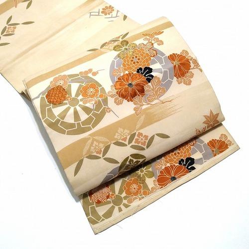 ★アンティーク 袋帯 両面 刺繍 ナチュラル  ★ c013