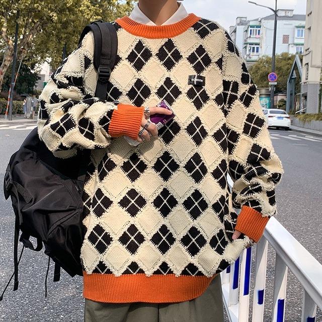 【メンズファッション】シンプル長袖ラウンドネックプルオーバーセーター52901539