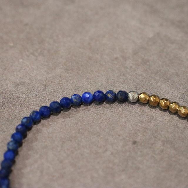 【COSMIC BLUE】薬師天珠×ラピスラズリ×ラブラドライト×ゴールドヘマタイト 〈ハーフ〉ブレスレット【シルバー】