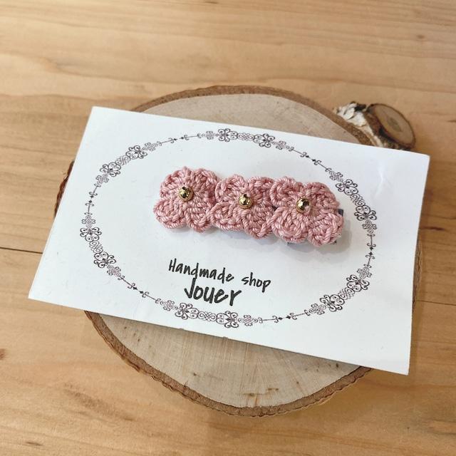 手縫いレースの小花ヘアクリップ ピンク