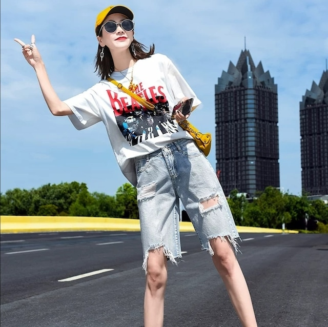 【ボトムス】デニムダメージ加工ファッションショートパンツ42919088