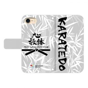 au 用:全日本空手道連盟認定 手帳型スマホケース L_空手道_笹