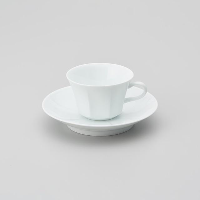 【中仙窯】白磁面取り紅茶碗皿 (日本工芸会正会員 中尾 純作)