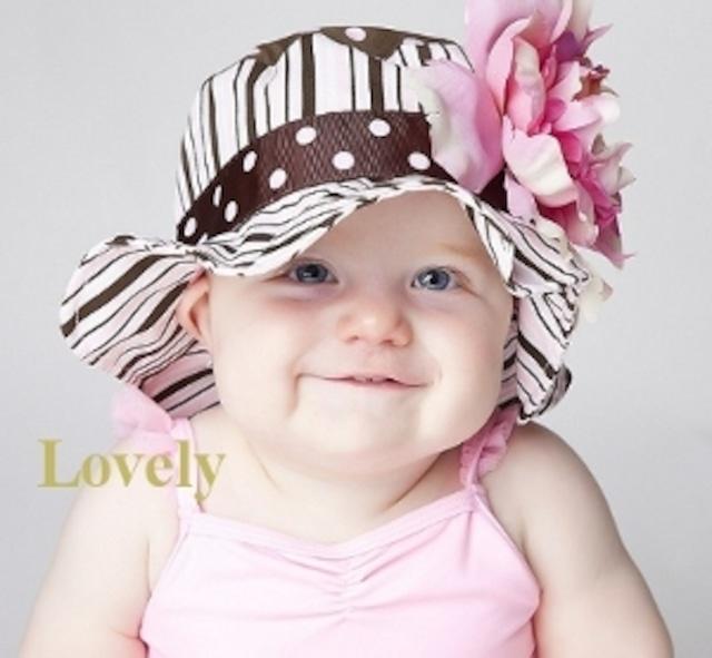USAサイズ3ヶ月~1歳【JamieRaeHats ジェイミーレイハット】2<サンハット>ブラウンピンク/ペールピンクしゃくやく