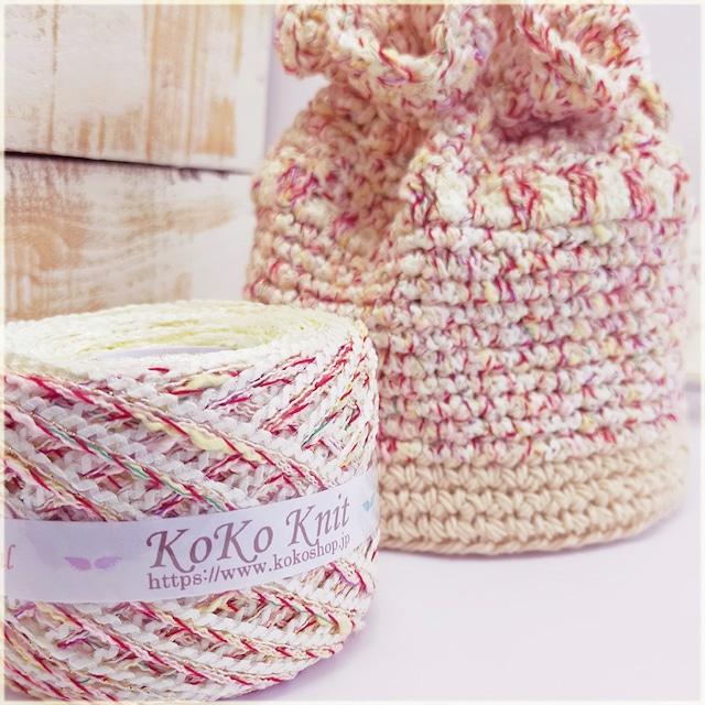 §koko§ 夏祭り〜優しい眼差し〜 1玉74g以上 約76m 多色撚糸、変わりリング糸、ラメ撚糸 引き揃え糸