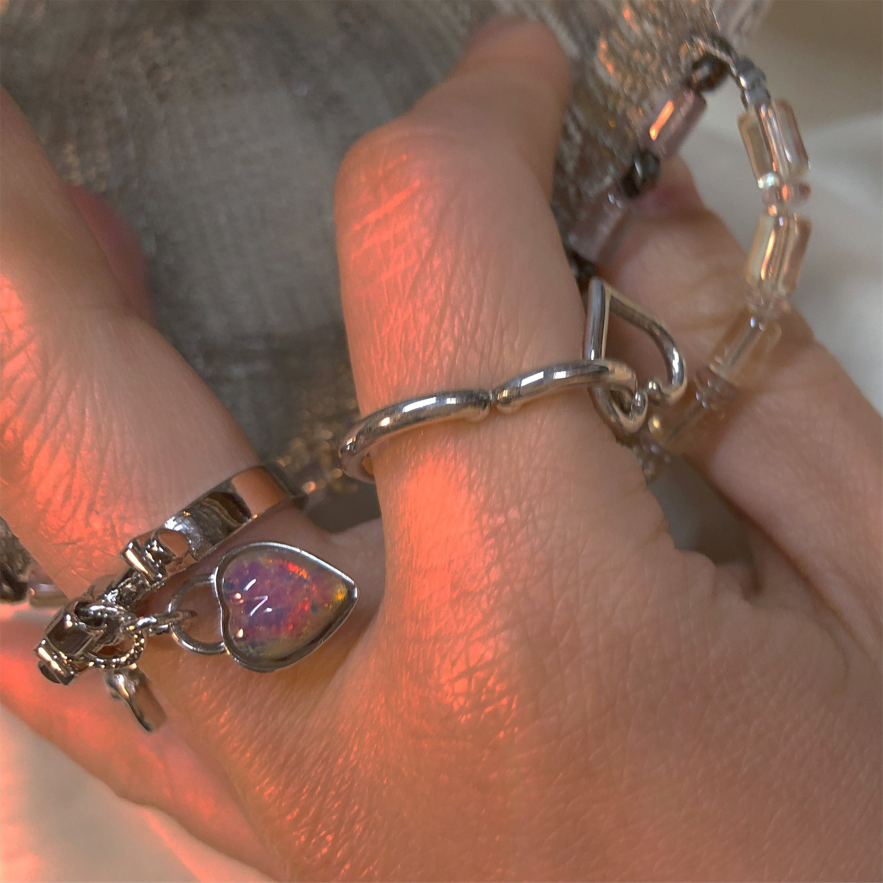 pink opal vintageガラスの鍵RING #1732 ピンクオパールヴィンテージガラスの鍵リング