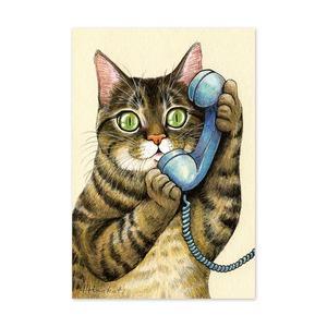 22.ねこ電話 ポストカード / Cat Phone Call Postcard