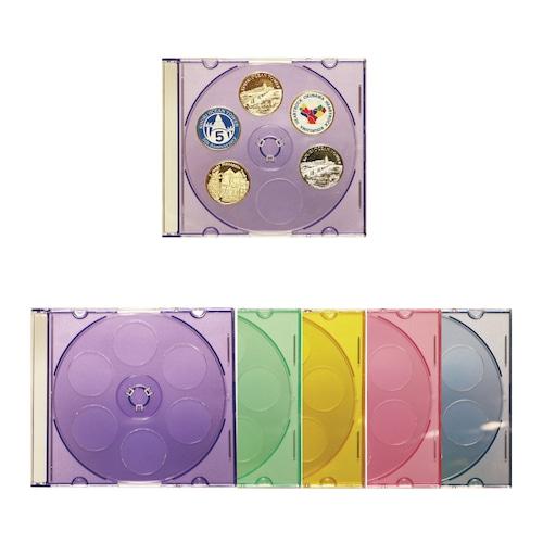 記念メダル収納CD×5枚セット/ご当地記念メダル30個収納 5色ケースつき
