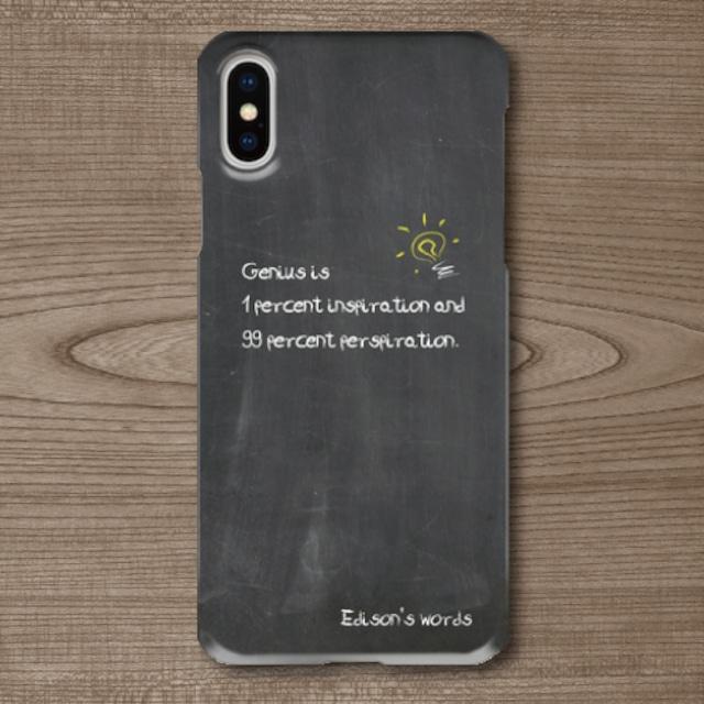 名言・格言/チョーク文字/エジソン/天才/ひらめき/努力/黒板調/iPhoneスマホケース(ハードケース)