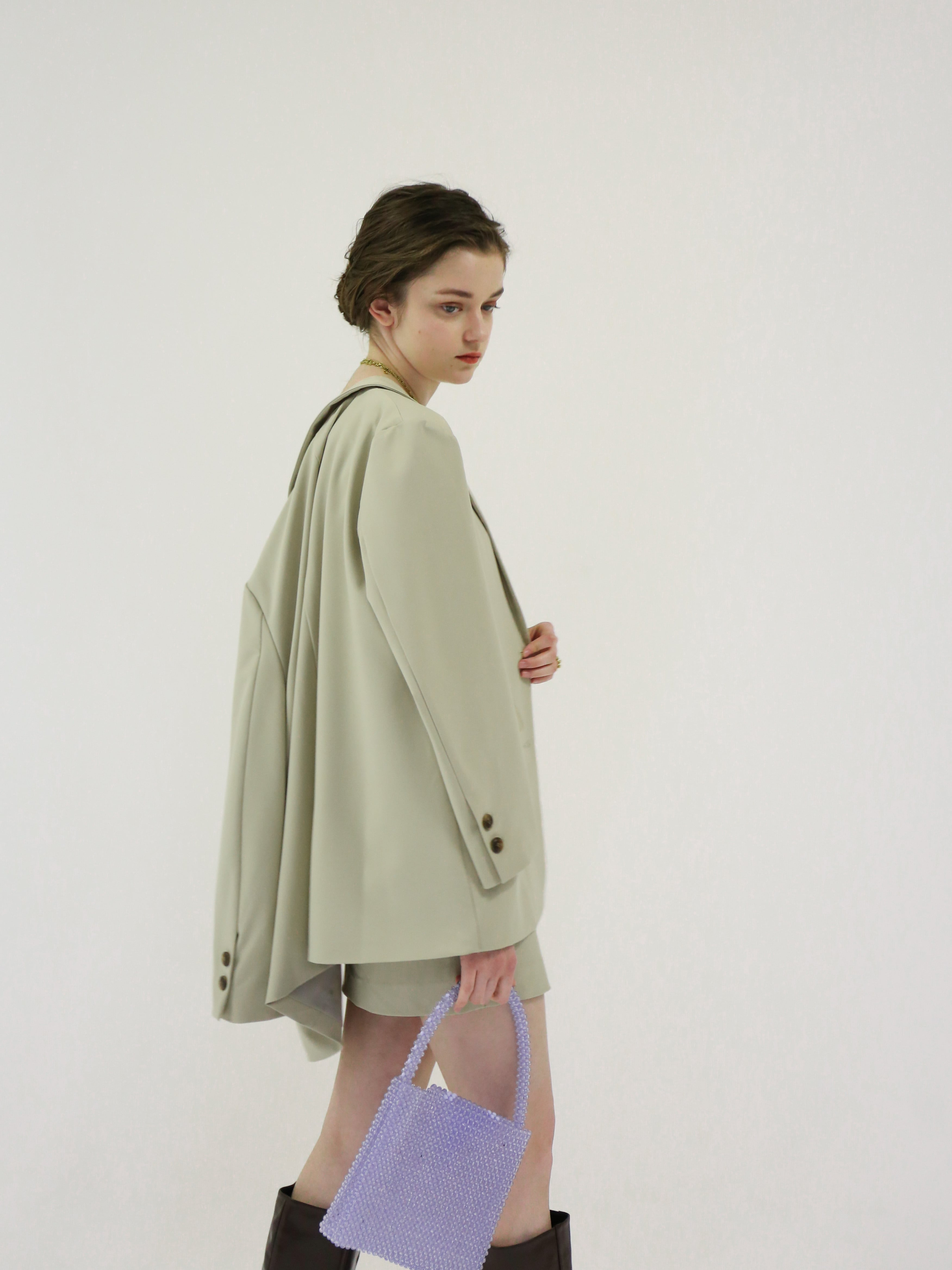 single breasted jacket(beige green)