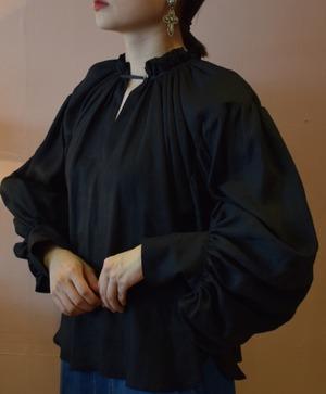 Shirring neckline blouse/Cupro Black