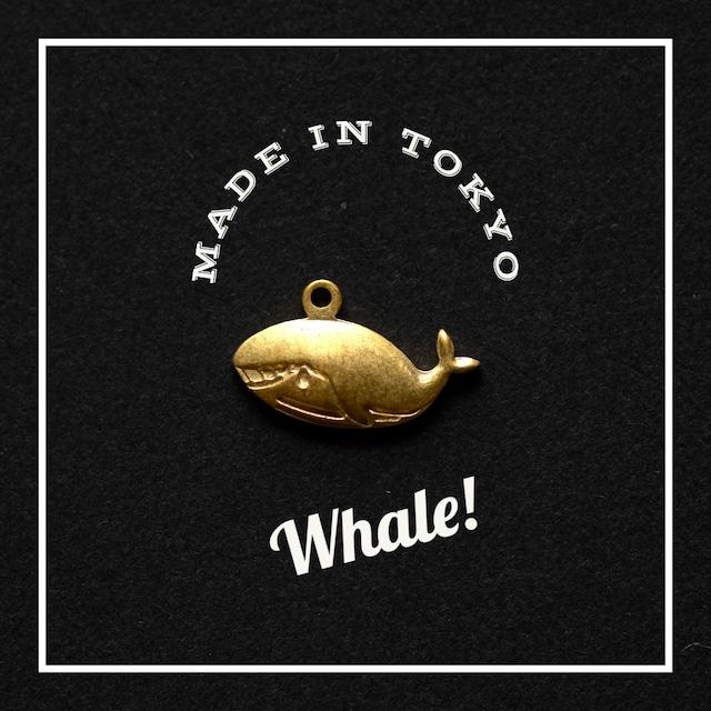 【2個】チャーム クジラ (日本製、真鍮、無垢)