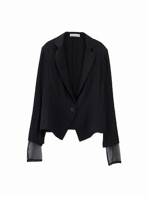 Tulle sleeve jacket  / navy / S16JK02