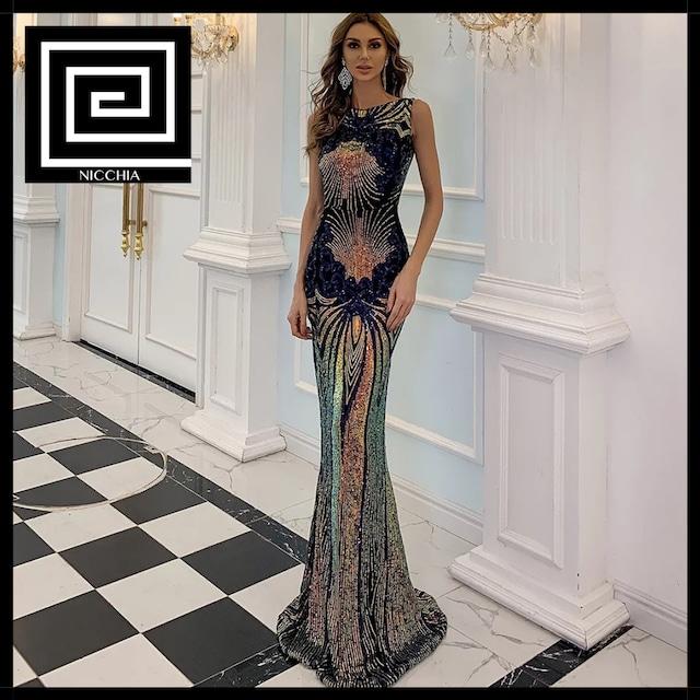 マルチカラースパンコールロングドレス